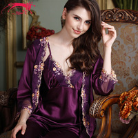 Girl country. The new 2014 women pajamas. Sexy fashion nightgown. Silk pajamas emulation silk leisurewear three-piece suit