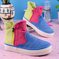 2014 spring color block high canvas shoes women side zipper shoes lazy casual shoes  fashion brand