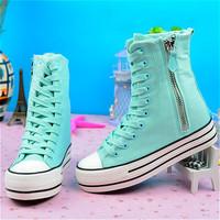 2014 spring platform elevator high canvas shoes women shoes zipper casual  fashion brand