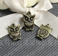Fashion Jewelry Findings Accessories charm pendant alloy bead Antique Bronze 16*11MM owl shape 100PCS JJA1414