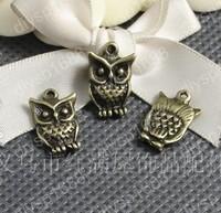Fashion Jewelry Findings Accessories charm pendant alloy bead Antique Bronze 16*11MM owl shape 100PCS JJA1414