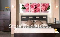 3 Panels Hot Selling Huge Art Modern Valentine's Day Gift Rose Picture Paint Wall Hanging Decorative Print Canvas Painting pt447