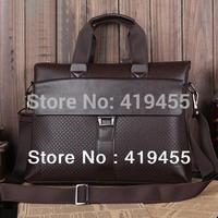 Retail 2014 high quality hot sale brand messenger brown shoulder bag men briefcase genuine+pu leather handbag bags