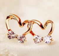 earring for women fashion imitation diamond alloy plated heart zircon Stud Earrings free shipping