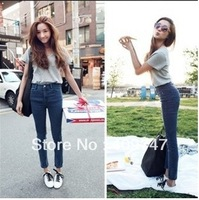 2014 New Female fashion women jeans stretch jeans Vintage high waisted pants woman skinny pencil