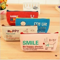 C164 korea stationery storage cosmetic canvas bag student pencil case