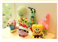 Cute SpongeBob / Patrick Star / crab boss / ruffian boss / small worm / octopus plush toy doll baby gifts for children 6pcs