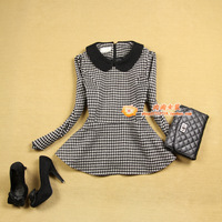 Women's long-sleeve woolen plus size peter pan collar houndstooth slim outerwear top