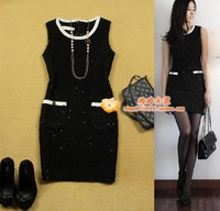 2 women's evidenced olmm small sequin slim thick black vest one-piece dress