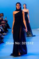 2014 Elie Saab Black Chiffon One Shoulder Elegant Formal Long Floor Length Prom Gowns Evening Dresses