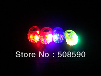 Free shipping 1000pcs/lot 3*3*4cm Soft Flicker flower fashion soft silicone led finger ring for wedding
