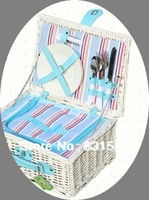 Free Shipping! Green  Wicker Picnic Basket Double Meals blanket Storage Basket  Portable Food Basket Pure Handmade White