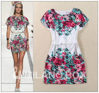 Free shipping 2014 summer fashion ink flower floral printing belt slim sweet elegant short sleeve dress
