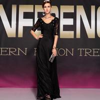2013 V-neck evening dress black evening dress fashion plus size formal dress long design