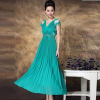 Summer women's fashion lace pleated fashion patchwork full dress formal dress chiffon one-piece dress full dress