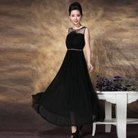 Dinner of the banquet fashion diamond belt expansion bottom ultra long dress formal dress silk one-piece dress