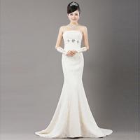 Long design short slim fish tail trailing the bride wedding dress tube top train wedding dress bride