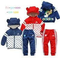hot-sellingchildren clothing set child casual long-sleeve sports set ,polka dot cartoon baby suit,5pcs/lot,free shipping