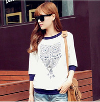 Monkey King 2014 NEW! Women's fashion Vintage loose t-shirts white owl print tops three quarter sleeve tops hoodies female