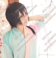 Free shipping   Long black straight hair wig cos modelling wig anime characters Yoshihara Shiro