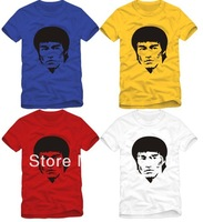 Free Shipping High quality 2014 new arrival kungfu tee shirt unisex Chinese kung fu O-neck bruce lee shirt 5 color 100% cotton