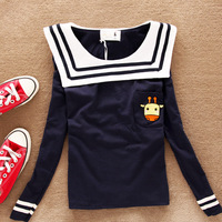 2014 spring sweet cattle sailor collar batwing loose shirt long-sleeve T-shirt female shirt