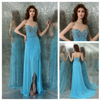 New Designer Sweetheart Long Prom Dresses with Beads Long Chiffon Royal Blue 2014 Custom Made