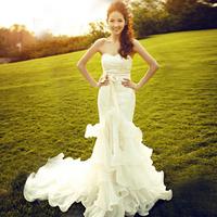 2014 wedding train lace wedding dress new arrival
