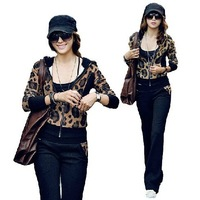 Vogue 2014 leopard grain long sleeve tracksuit, hoodies suit,spring/summer/autumn/winter,M-XL,women sport suit/ Free shipping