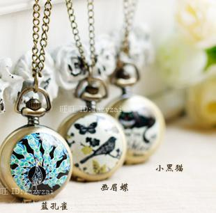 2014 new arrival pocket watch necklace Bronze ceramic peacock cat thrush butterflies retro pocket Watch Necklace(China (Mainland))