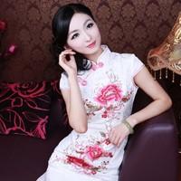2014 Freeshipping Denim Promotion Wedding Cheongsam Dress. Sexy Fashion. Cotton Modified Embroidery Cheongsam Qipao Dress