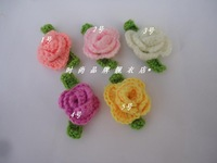 Diy handmade woven pattern child hair accessory Knitting flower baby hair bands hats shoe flower sweater corsage Crochet flowers