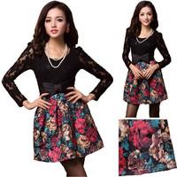 2014 Sweet Retro Painting Pattern Flower O-Neck Lace Bow Waist Dress Splicing Woman's Dress Elegant Woolen Dress