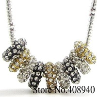 10PCS Gold Silver Plated Alloy+ Rhinestone Big Hole Charm Beads 5mm Fit European Bracelet H0014 Mix Order $10 Free Shipping