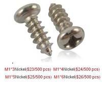 Free shipping Pan head. Small round electronic tapping screws. M1*3-4-5-6  Black / Nickel.500pcs Electronic screws