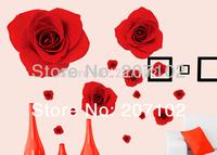 DIY Hot Elegant 11 Red Rose Flower Wall Sticker Decal Removable Home Decor Vinyl