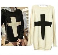 East Knitting CR-004 Fashion Women Cross Pattern Woollen Sweater Black/White L suit, free shipping