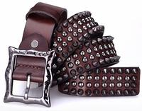Genuine Leather Vintage Punk Men Belt Cowhide Retro Rivet Studs Hip Belt For Man New 2014 Designer Strap Cinto Ceinture  TBT0088