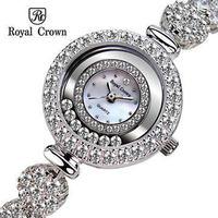 Royal Crwon Luxury Japan Movement Quartz Original Brand Watch For Women Fahsion Rhinestone Dress Wristwatch Siver Diamonds Top