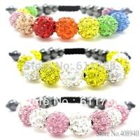 1PCS Big Sale Shamballa Bracelets & Bangles Pave 10mm Crystal AB Clay Ball(11Pcs)Shambhala Bracelet Mix order $10 Free Shipping