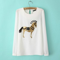 The new spring and winter in Europe station patch pony beaded chiffon shirt bottoming shirt printed blouse tops F