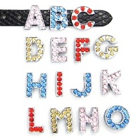 "8MM Color Rhinestone Slide Letters ""A-M "" (10 pieces/lot) Slide Charms Fit DIY Wristband & Bracelet"