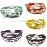 """1Pcs Leather Crystal Shamballa 5 Beads/Ball Magnet Bracelet """"5 Color Can Choose"""""""