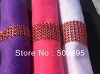 Red Color wedding table decoration 8 rows  rhinestone diamond napkin ring, crystal rhinestone napkin ring LE008R