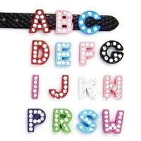 """8MM Mix Color Slide Letters """"A-M """" (10 pieces/lot) Slide Charms Fit DIY Wristband & Bracelet"""