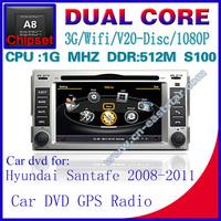 Car DVD for Hyundai santafe S100 gps navigation radio bluetooth car kit TV USB Wifi 3G 1G CPU Video audio Free shiping 1216