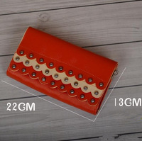 Korean women wallet rivets NEW fashion leather long wallets ladies' purse bag handbag card pack