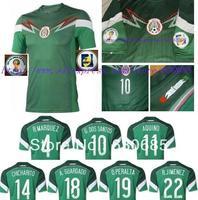 2014 Mexico Green best quality fans soccer jerseys, marquez g dos santos aquino chicharito peralta jimenez jerseys+14cup patch