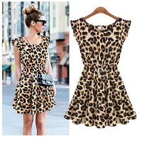 2013 new European and American fashion casual dress women leopard dress factory outlets