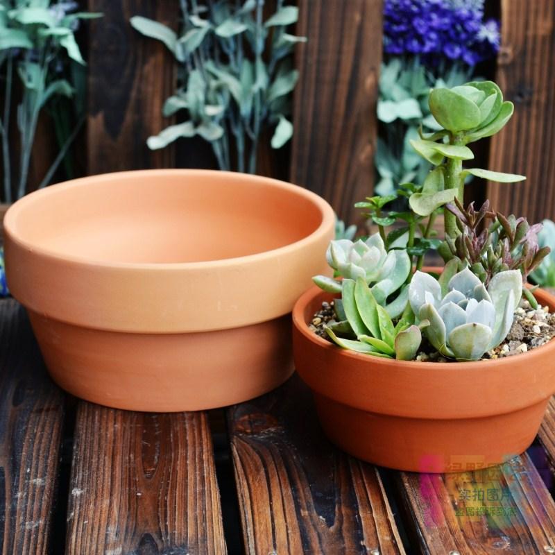 Terracotta Flower Pot Brief Round Pots Fleshier Plant